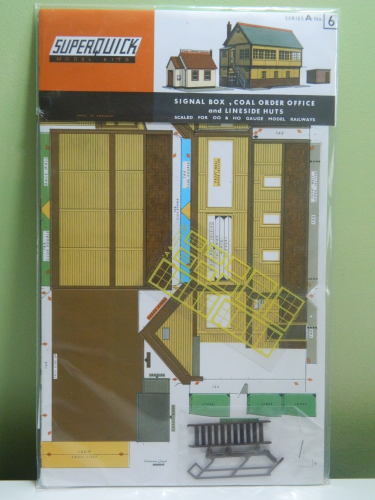 Superquick A6 OO Signal Box, Coal Office & Lineside Huts Card Kit