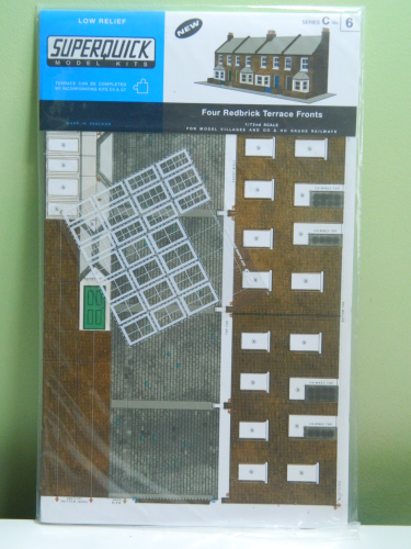 Superquick C6 OO Four Redbrick Terrace Fronts Card Kit