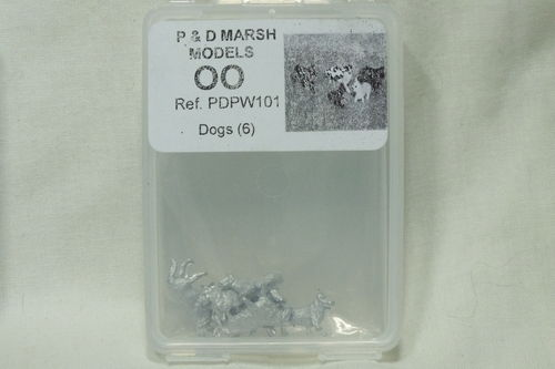 PW101 1:76/OO Dogs (x6) White Metal Kit
