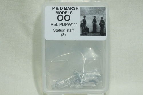 PW111 1:76/OO Station Staff (x3) White Metal Kit