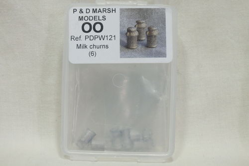 PW121 1:76/OO Milk Churns (x6) White Metal Kit