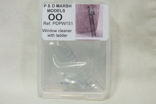 PW151 1:76/OO Window Cleaner with Ladder White Metal Kit