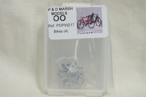 PW217 1:76/OO Bikes (x4) White Metal Kit