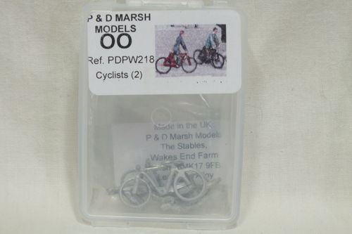 PW218 1:76/OO Cyclists (x2) White Metal Kit